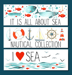 Horizontal banner templates with nautical elements vector