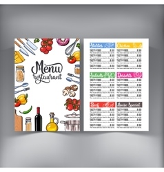 Kitchenware vegetables and cutlery menu design vector