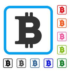 Bitcoin symbol framed icon vector