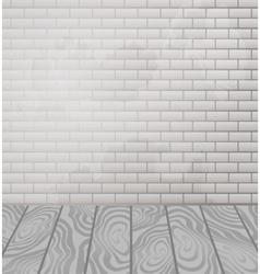 Brick wall and wooden floor interior vector