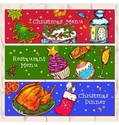 Christmas menu banners set vector