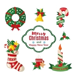 Christmas set with traditional symbols vector image