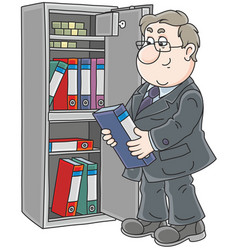 Clerk near a safe vector