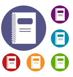 Closed spiral notebook icons set vector