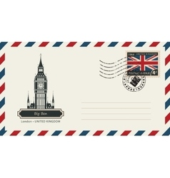 envelope with postage stamp with London Big Ben vector image