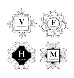 Floral monograms set vector image