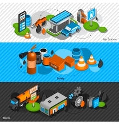 Gas station isometric banners set vector