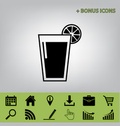 Glass of juice icons black icon at gray vector