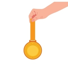 Gold medal champion in the hand icon flat vector