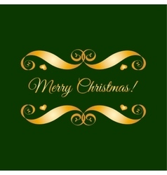 Gold merry christmas badge over green vector