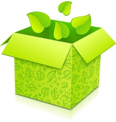 Green gift box with foliage inside vector image vector image