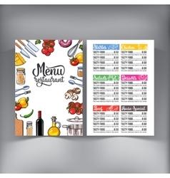 Kitchenware vegetables and cutlery menu design vector