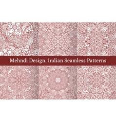 Mehndi henna design seamless patterns vector image