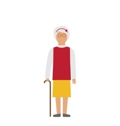 Old woman walking with cane isolated on white vector