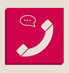 Phone with speech bubble sign grayscale vector