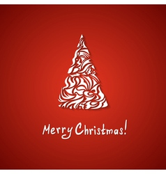 red Christmas card with a tree vector image vector image