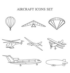 set of airplanes vector image vector image