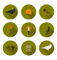 Set of flat icons crow vector