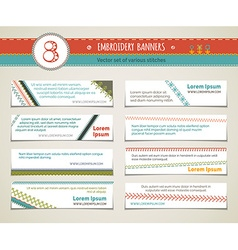 Set of horizontal embroidery banners vector image