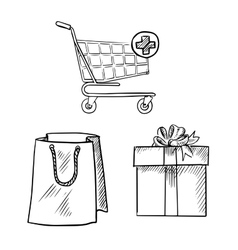Shopping cart gift box and shopping bag sketches vector