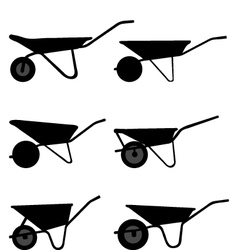 silhouettes of wheelbarrows vector image