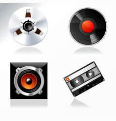 sound mastering objects icon set vector image vector image