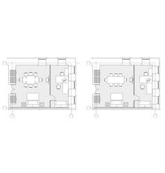 standard office furniture symbols on floor plans vector image
