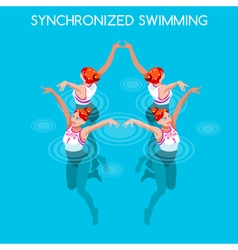 Synchronized swimming 2016 summer games 3d vector