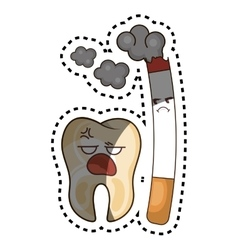Teeth funny character with cigarette kawaii style vector