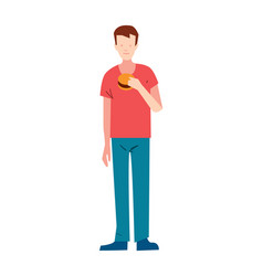 Thin young man with burger vector
