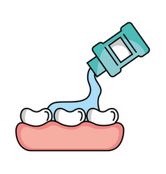 Tooth care with mouthwash vector