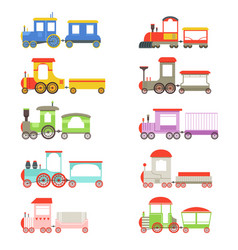 Toy locomotives and wagons set colorful trains vector