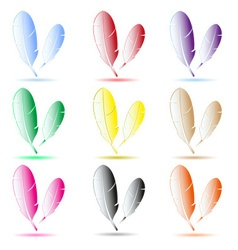 Various color feathers symbols with shadow eps10 vector