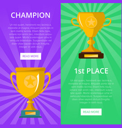 Win celebration banners with golden goblets vector