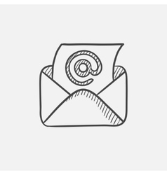 Email envelope with paper sheet sketch icon vector
