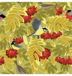 autumn branch of rowan and bird vector image