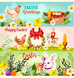 Happy easter day greetings banner set design vector
