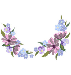 Beautiful violet and nots flowers on white vector