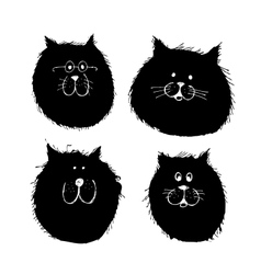 Cat and dogs faces silhouette sketch for your vector image