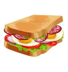 toasted sandwich with green lettuce sliced vector image
