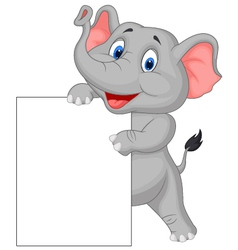 Funny elephant cartoon and blank sign vector image