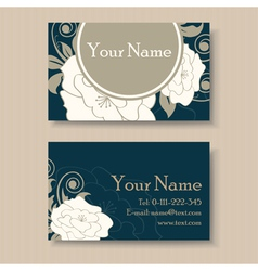 Dark floral visit card vector