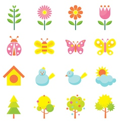 Spring season object icons set vector