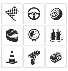 Car racing and pumping icons set vector