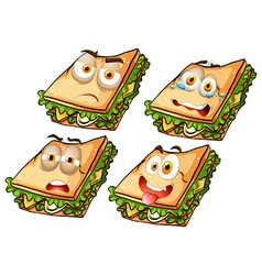 Sandwich with facial expressions vector