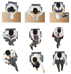 People sitting top view set 6 vector