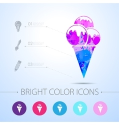 Ice-cream icon with infographic elements vector