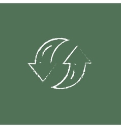 Two circular arrows icon drawn in chalk vector