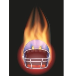 Football helmet with flame vector