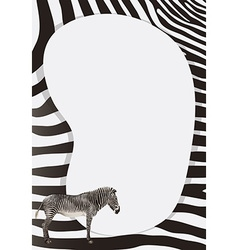 Border design with zebra skin pattern vector